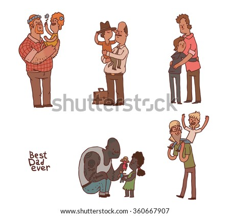 Vector set of cartoon images of different men - fathers with their children (boys and girls) in various poses on a light background. The best dad ever. Vector illustration. - stock vector