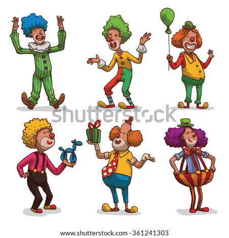 Vector set of cartoon images of happy funny clowns with different hair colors in colorful clothes in different poses on a light background. Children's festival. Vector illustration. - stock vector