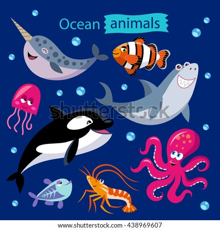 Vector set of cartoon ocean animals on a dark background. Childish illustration of narwhal, whale, shark, jellyfish, shrimp, octopus, x-ray fish and clown fish. - stock vector