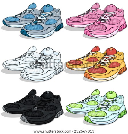 Vector Set of Cartoon Running Shoes - stock vector