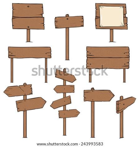 Vector Set of Cartoon Signposts - stock vector