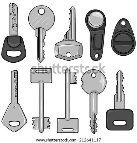Vector Set of Cartoon Silver Modern Keys. Type of Modern Keys. - stock vector