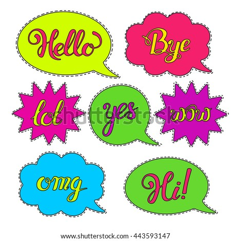 Vector set of Cartoon speech bubbles.Hand drawn set with phrases Hi, Hello, Thank you, Yes, Wow, Bye.Cute Internet Slang Wording Vector Design Illustration. Patch badges or fashion pin badges.Stickers - stock vector