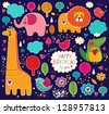 Vector set of cartoon stickers with animals - stock vector