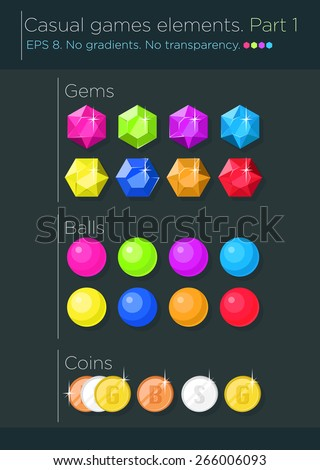 Vector set of casual games elements, gems, balls and coins  - stock vector