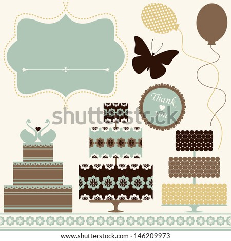 Vector set of celebration or holiday icons in vintage colors. - stock vector
