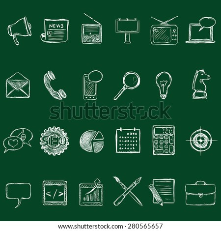 Vector Set of Chalk Advertising Icons. Types of Advertisement. - stock vector