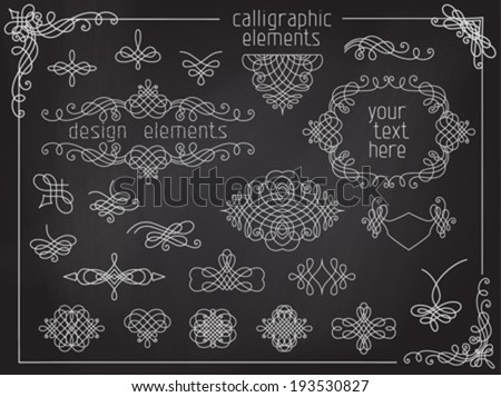 Vector set of chalk calligraphic design elements. Page decoration, flourishes, dividers, vintage frames, headers and design elements on chalkboard background. - stock vector