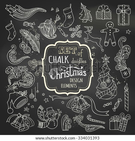 Vector set of chalk Christmas design elements. Christmas tree and baubles, Santa sock, hat and beard, gifts, candy canes, snowman, gingerbread man, deer, cup, holly berries on blackboard background. - stock vector