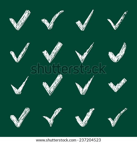 Vector set of chalk confirm icons set for check box design. - stock vector