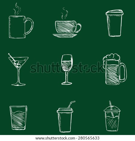 Vector Set of Chalk Drinks Icons. Tea, Coffee, Alcohol, Martini, Wine, Beer, Mineral Water, Fizzy Water, Smoothie, Cocktail. - stock vector