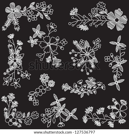 Vector Set of Chalk Style Hand Drawn Flowers - stock vector