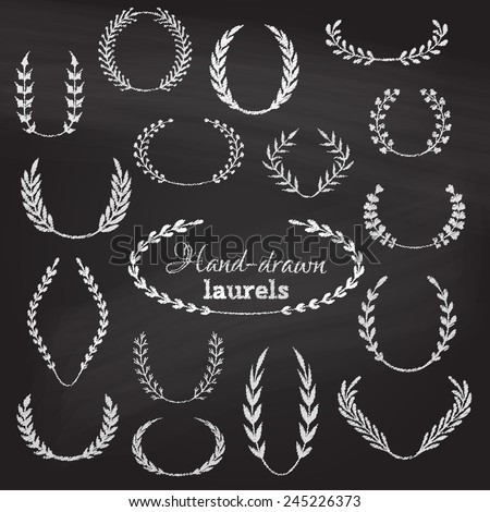 Vector set of chalk wreaths. Hand-drawn page decorations, flourishes and design elements on chalkboard background. - stock vector
