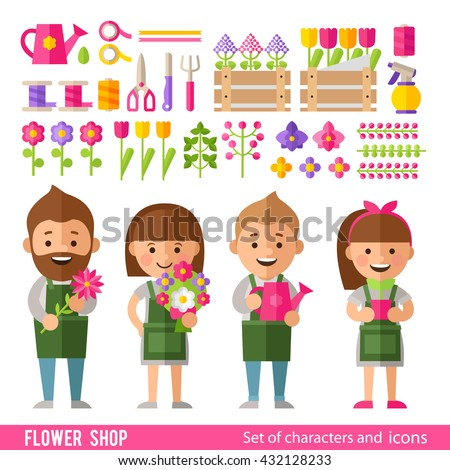 Vector set of characters and icons in a flat style. Florists, flowers and floral tools, bouquets and flower arrangements. - stock vector