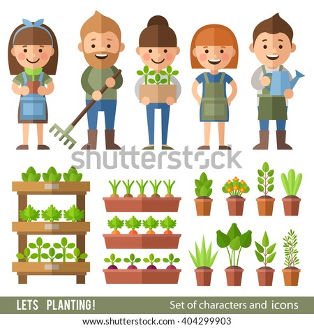 Vector set of characters and objects garden and orchard. Boys and girls work in the garden. Plants in pots and beds. - stock vector