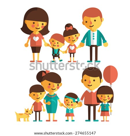 Vector set of characters in a flat style. A large family with children. Family in anticipation of the child. - stock vector