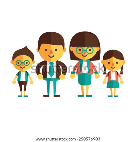 Vector set of characters in a flat style family - stock vector