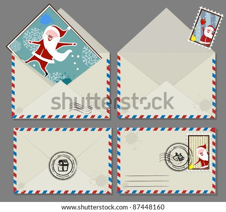 Vector set of Christmas envelops - stock vector