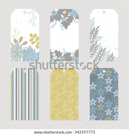 Vector set of Christmas floral tags. Winter label cards in pastel colors. For Christmas and New Year greeting cards, invitations, gifts decoration, sales design, scrapbooking and other. - stock vector