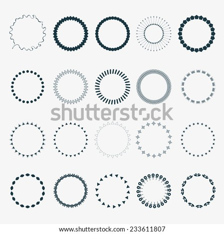 Vector Set of circles ornament patterns as copyspace design eps10 vector element set collection - stock vector