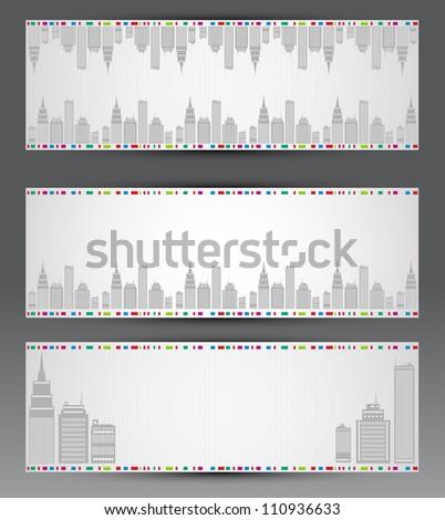 Vector set of city banners - stock vector