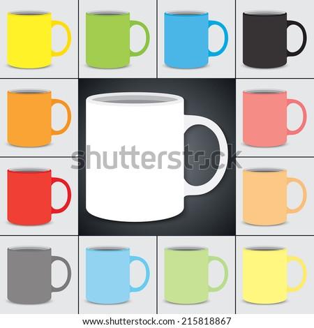 Vector set of classic mugs. Flat design. - stock vector