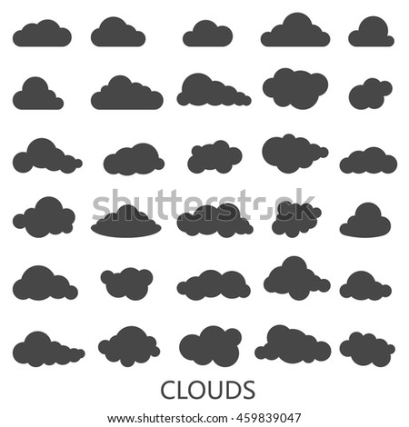 Vector set of clouds shapes, black cloud on white background icons set - stock vector