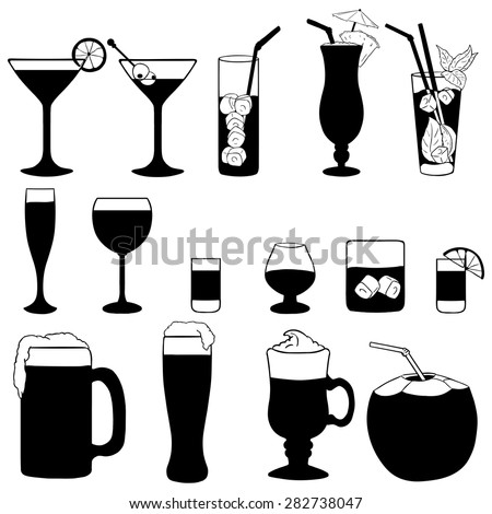 Vector Set of Cocktails and Alcohol Drinks. Black and White Illustration. - stock vector