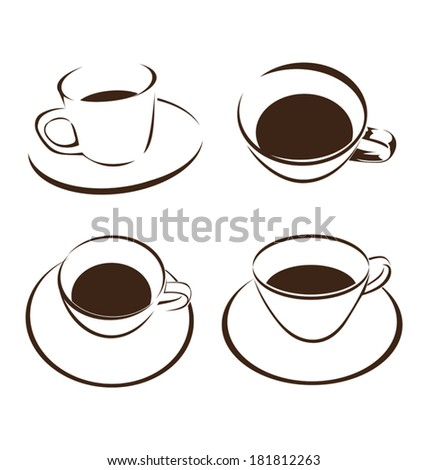 vector set of coffee cup - stock vector