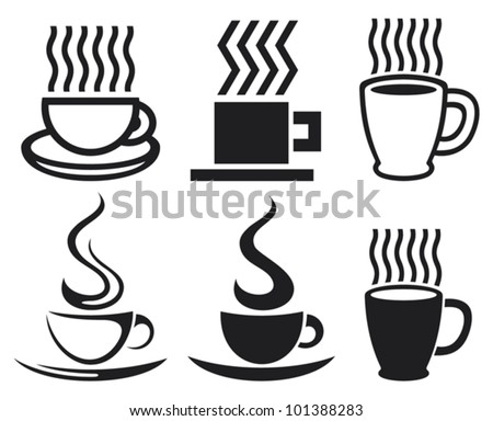 vector set of coffee cups and mugs icons - stock vector