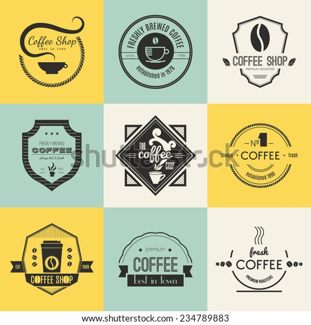 Vector set of coffee shop logos, restaurant or bar logotype design elements with mugs and beans. Ribbons, circle shapes, labels, insignias with coffee related elements. Vintage quality badges. - stock vector
