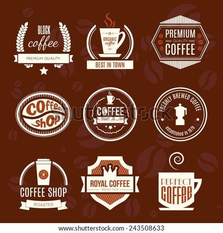 Vector set of coffee shop logos, restaurant or bar logotype design elements with mugs and beans. Ribbons, circle shapes, lables, insignias with coffee related elements. \ - stock vector