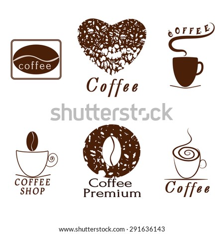 Vector set of coffee shop logos, restaurant or coffeehouse design elements. - stock vector