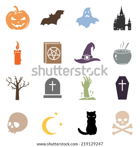 Vector Set of Color Halloween Icons - stock vector