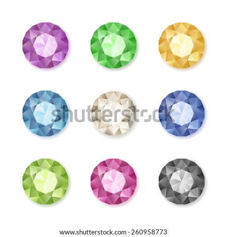Vector set of colored gem stones, round diamonds on white, eps10 - stock vector