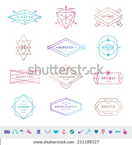 Vector set of colored hipster line emblems signs and symbols - stock vector