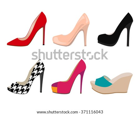 vector set of colored realistic women shoes - stock vector
