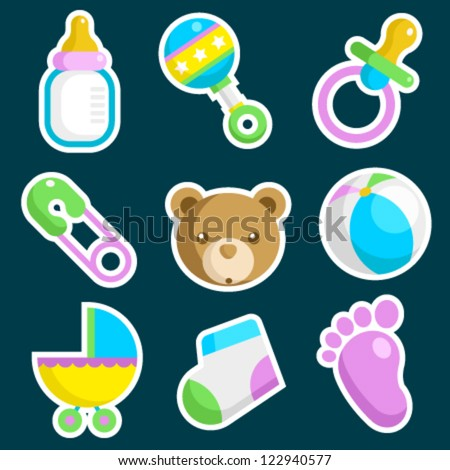 Vector set of colorful baby shower icons - stock vector