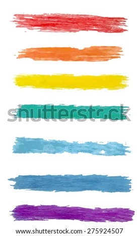 Vector set of colorful brush strokes 1 - stock vector