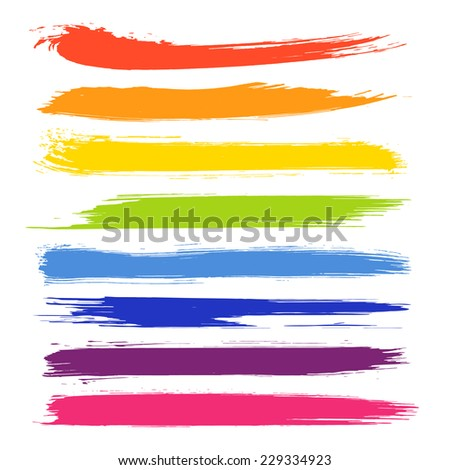 Vector set of colorful brush strokes. Colorful vector brush strokes collection. Colorful paint spots vector set - stock vector