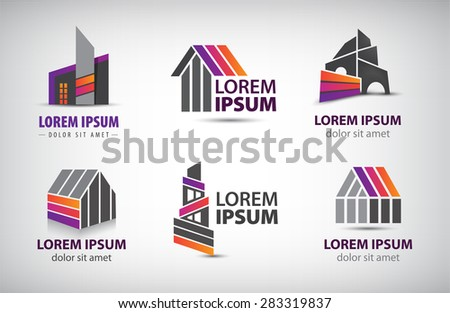 vector set of colorful buildings, houses logos, icons isolated. Editable - stock vector