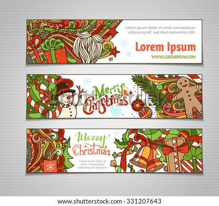 Vector set of colorful Christmas banners. Christmas tree and baubles, Santa sock, hat and beard, mistletoe, gift boxes, snowman, swirls and hand-written text, gingerbread man, sweets. - stock vector