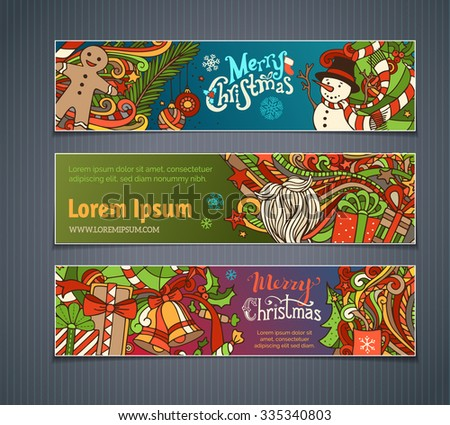 Vector set of colorful Christmas banners. Christmas tree and baubles, Santa sock, hat and beard, mistletoe, gift boxes, snowman, gingerbread man, snowflakes and hand-written text.  - stock vector