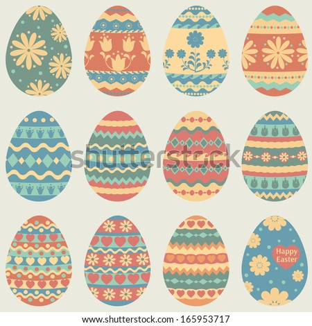 Vector set of colorful Easter eggs. EPS 8. - stock vector