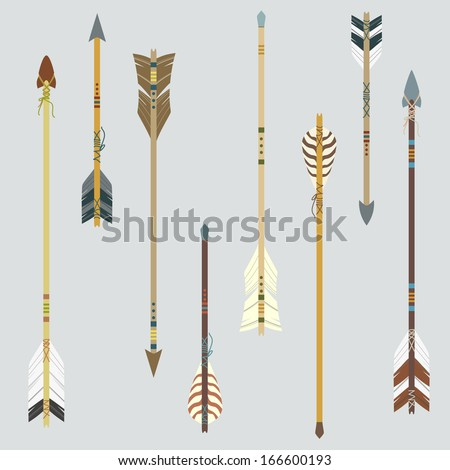Vector set of colorful ethnic arrows - stock vector