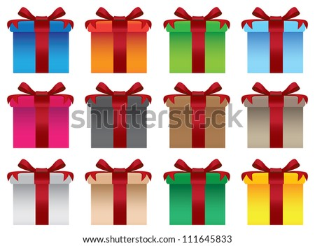 Vector set of colorful gift boxes with red ribbons - stock vector