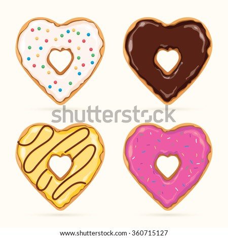 vector set of colorful heart shaped donuts - stock vector