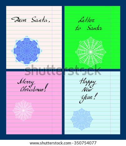 Vector set of colorful paper sheets with new year lettering and lacy snowflakes. - stock vector