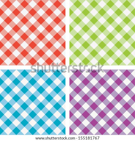vector set of colorful picnic cooking tablecloth - stock vector