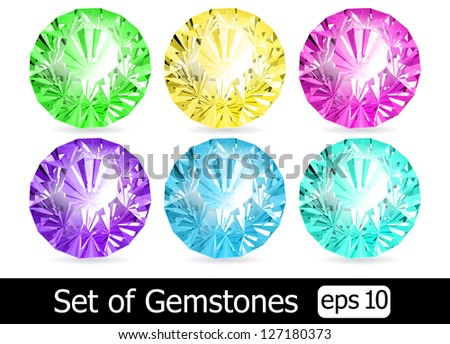 Vector set of colorful shiny jewels - stock vector